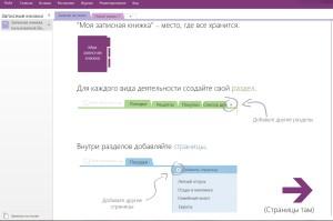 Экран программы OneNote